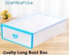 5pc/lot women's Stackable Plastic Storage Shoe Long Boot Boxes Case Ladies Foldable Clear Handhold Storage Shoe Box 52*32*12