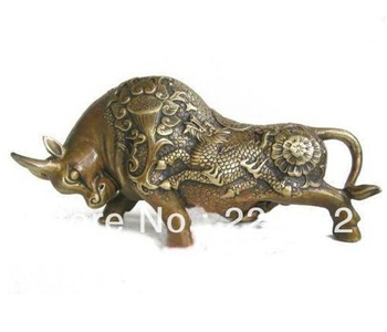 Asian Antiques CHINESE Copper COW Statue free shiping