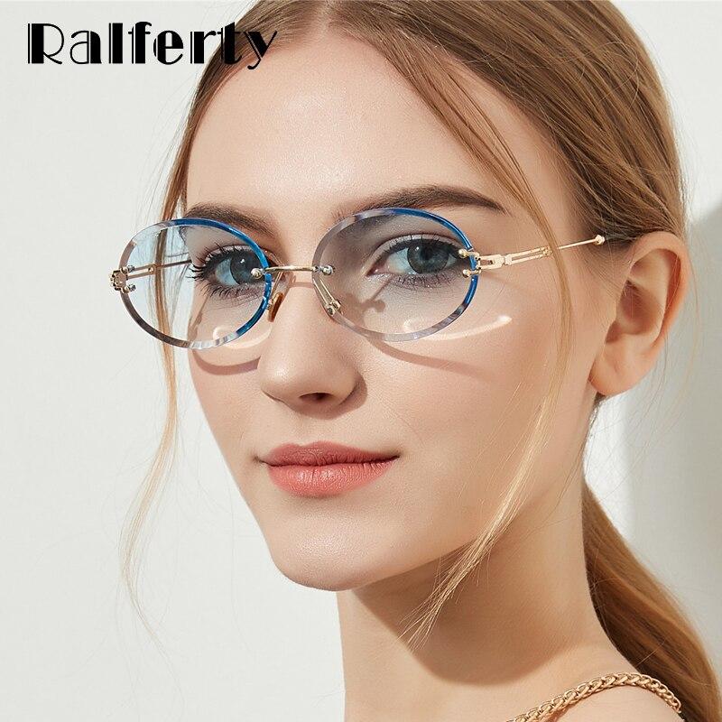 e09dc37a340 Ralferty 2018 Small Oval Sunglasses Women Rimless Crystal Cloudy Sun Glasses  For Women UV400 Gradient Eyewear