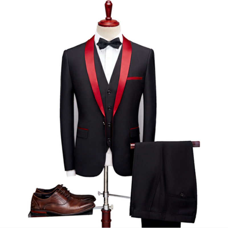 Doragrace 3 Piece Suits Men 2019 Spring Autumn Red Shawl Collar Groom Wedding Suit Costume Homme Mariage Christmas Suit