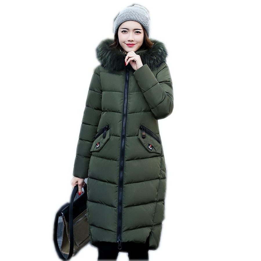 winter coat women wadded jacket outerwear female long thickening parkas 2018 fashion slim cotton-padded coat plus size 3XL long section men s solid cotton padded wadded jacket fashion clothes trench coat hooded jackets casual outerwear slim parka 3xl