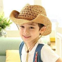 Verano otoño 54 cm niños Caps Cowgirls sombreros de vaquero para niños  patrón de estrellas paja con Cable 250d279dd03