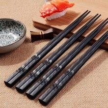 1 пара японских палочек для еды, сплав, Нескользящие деревянные цветные палочки для суши, набор китайских подарков, подарки для друзей и друзей