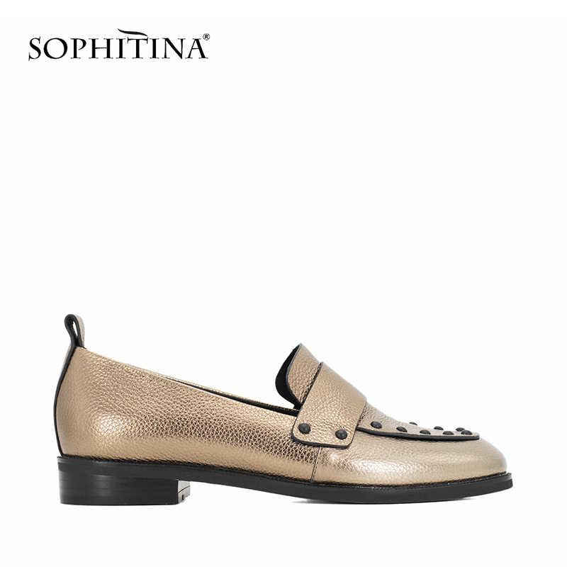 SOPHITINA/Женская обувь наивысшего качества; ручная работа; зеленая овечья кожа; повседневная обувь на плоской подошве с круглым носком на низком каблуке; Осенняя женская обувь из натуральной кожи на плоской подошве; P11
