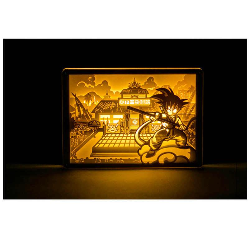 Аниме Dragon Ball рисунок акрил стерео свет настольная лампа скульптура Бумага удаленного Управление сына игрушки Goku подарок на день рождения H66