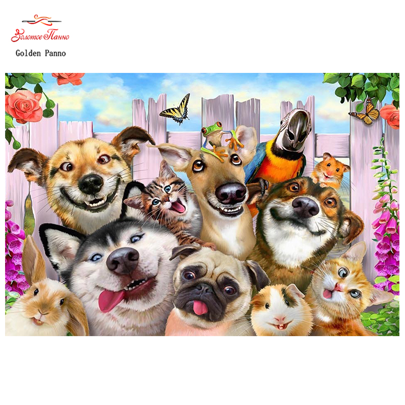 Golden Panno,DIY DMC 11CT 14CT Completely Cross Stitch Animal Dog,Christmas Gift,kits Embroidery Needlework Wall Decoration 09