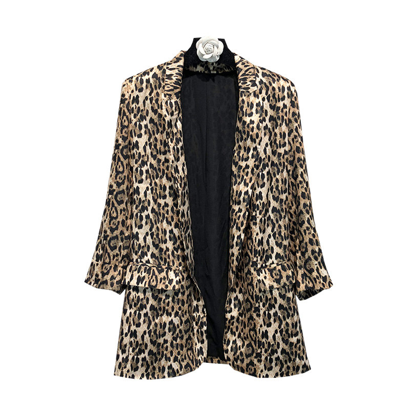 Autumn Vintage Leopard Blazer Women Shawl Collar Long Sleeve Coat Feminine Office Ladies Elegant Blazers High Streetwear