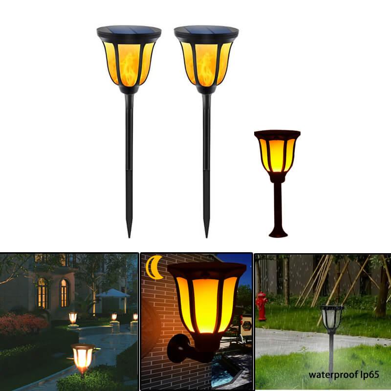 Led Landscape Lights Flickering: 2 Pack Solar Flame Flickering Lawn LED Lamp Outdoor Tiki