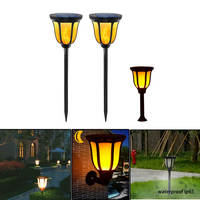2 Pack Solar Flame Flickering Lawn LED lamp Outdoor Tiki Torch Light Outdoor Landscape Garden Patio Yard Decor Lamp