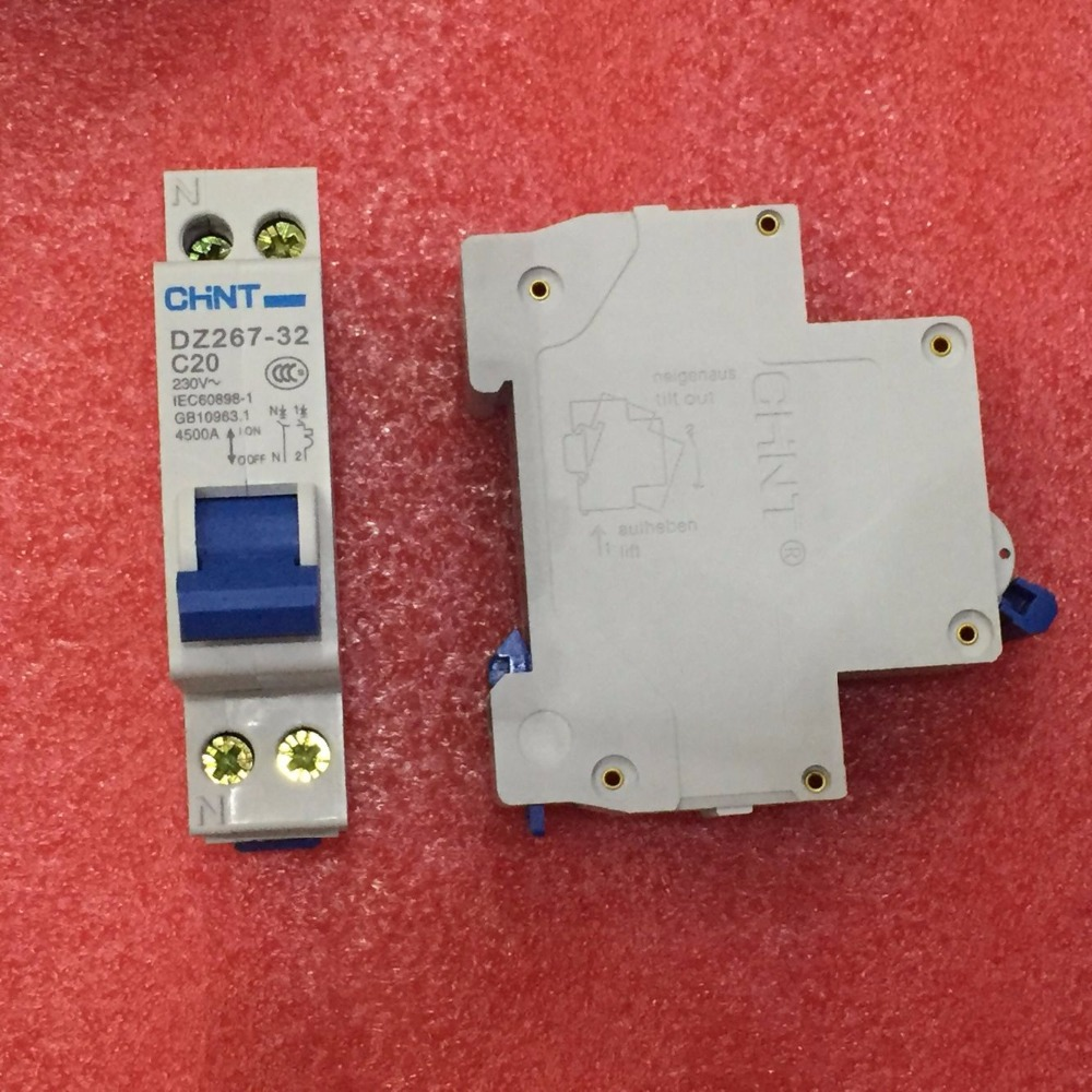 Free Shipping New CHINT Miniature circuit breaker DZ267-32 1P+N C20 20A Double inlet and Double outlet circuit switchFree Shipping New CHINT Miniature circuit breaker DZ267-32 1P+N C20 20A Double inlet and Double outlet circuit switch