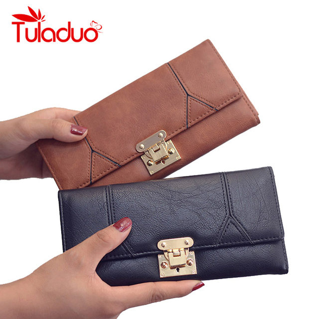 538361b047c1 Luxury Women Wallets Patchwork Leather High Quality Designer Brand Wallet  lady Fashion Clutch Casual Haspe Lady
