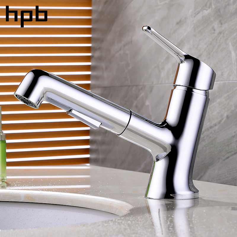 цены HPB Brass Chrome Pull Out Bathroom Basin Faucet Contemporary Style Hot And Cold Water Mixer Tap Single Handle Single Hole IFC021