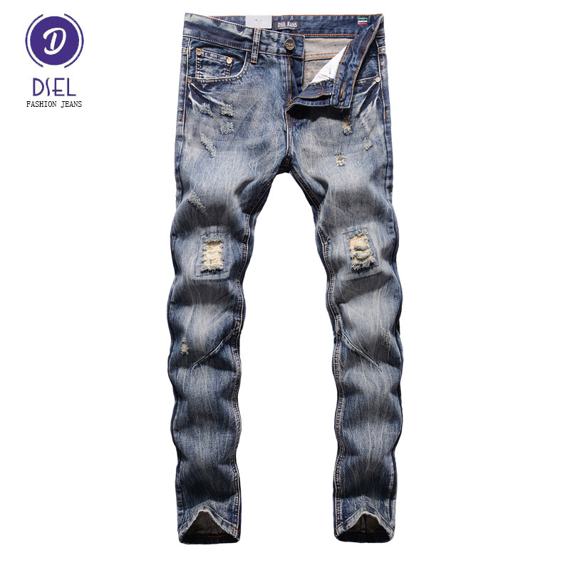 Italian Style Fashion Mens Jeans DSEL Brand Destroyed Ripped Jeans Men Pants Slim Fit Denim Street Youth Biker Jeans Knee Hole