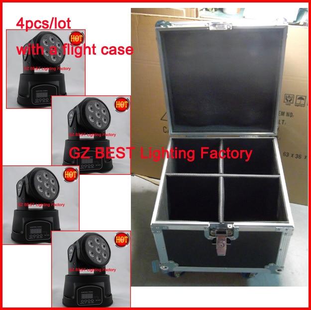 4pcs/lot With A Flight Case Led Mini Moving Head Wash Light Mini Led Rgbw Moving Head Light 7x12w 4IN1 Excellent For Mobile Appl