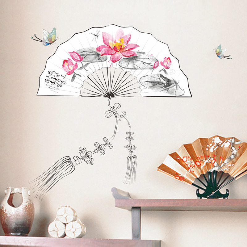 Creative Chinese Style Paper Fans Flower Wall Stickers Bedroom Living Room Home Decor Vinyl Posters