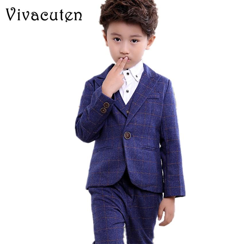 Children Boys Formal Suit Jackets Vest Pants 3pcs Gentlemen Handsome Clothes Set Brand Blazers Suits For Weddings Suit F016 ремни lee ремень gentlemen