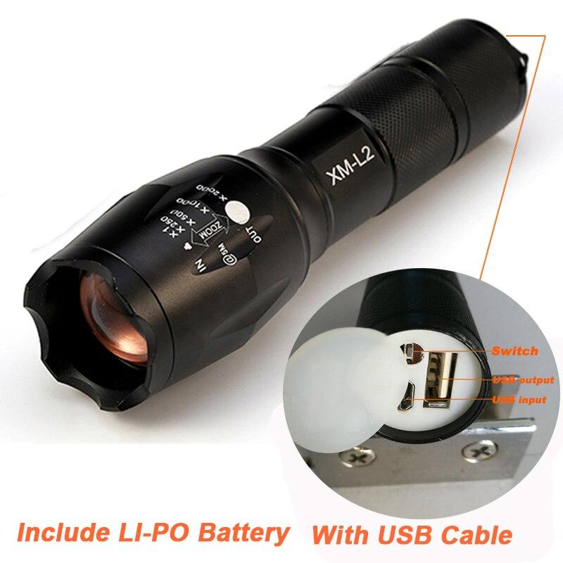 2017 Più Nuovo USB Torcia Elettrica 8000 Lumen X900 Torcia LED CREE XM-L2 Torcia Zoomable Flash Light Lampada di Illuminazione Per Il Caricatore USB