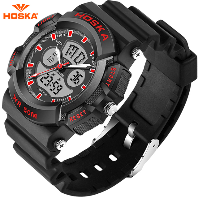 2017 Men's HOSKA Fashion Watch Men G Style Outdoor Waterproof Sports S-Shock Watches Digital Quartz-Watch erkek kol saati montre