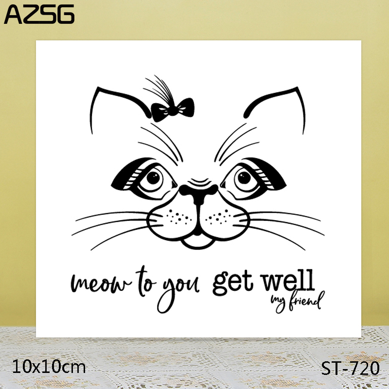 AZSG Cartoon cat Clear Stamps For DIY Scrapbooking Card Making Album Decorative Silicon Stamp Crafts in Stamps from Home Garden