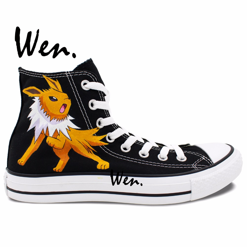 ФОТО Wen Black Design Custom Hand Painted Shoes Fox Pokemon Pocket Monster Jolteon Anime High Top Men Women's Canvas Sneakers