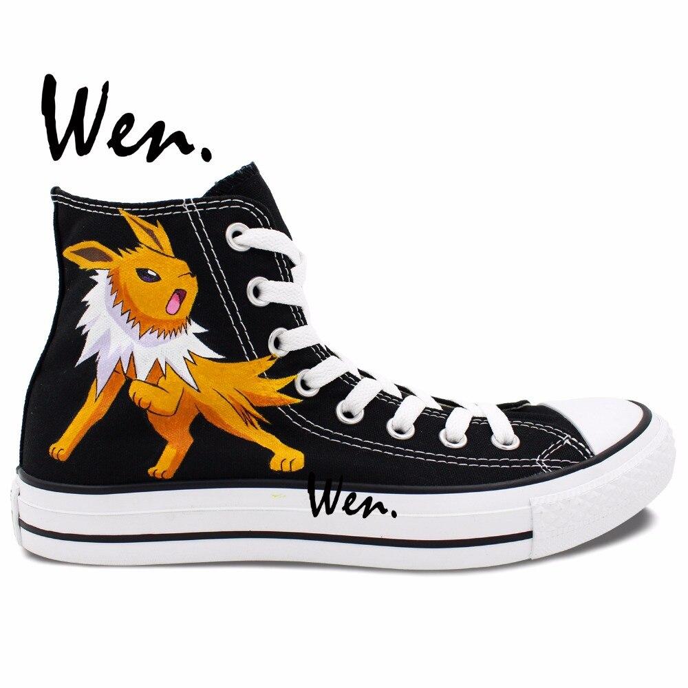 Prix pour Wen Noir Custom Design Peint À La Main Chaussures Renard Pokemon Pocket Monster Jolteon Anime Toile de Haute Top Hommes Femmes Sneakers