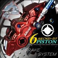 AKCND Motorcycle 6 Piston Brake calipers Aluminum Alloy CNC Hydraulic Disc Brake 40mm Center For yamaha bws nmax155 kawasaki
