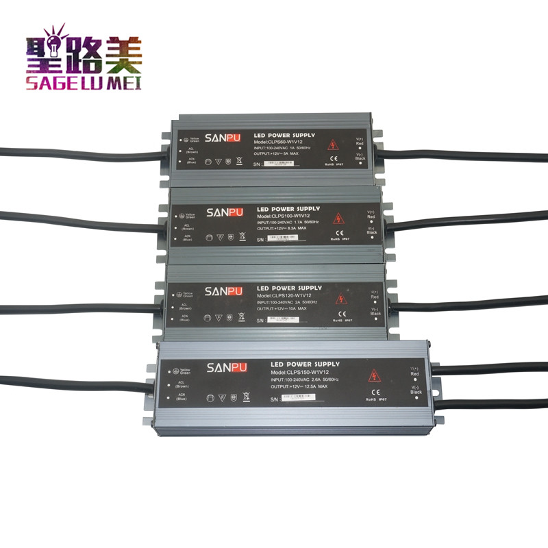 Ultra-thin waterproof LED power supply outdoor 110V 220V AC to DC12V 24V led driver 45W/60W/100W/150W/200W/250W/300W Transformer led driver transformer waterproof switching power supply adapter ac170 260v to dc48v 200w waterproof outdoor ip67 led strip