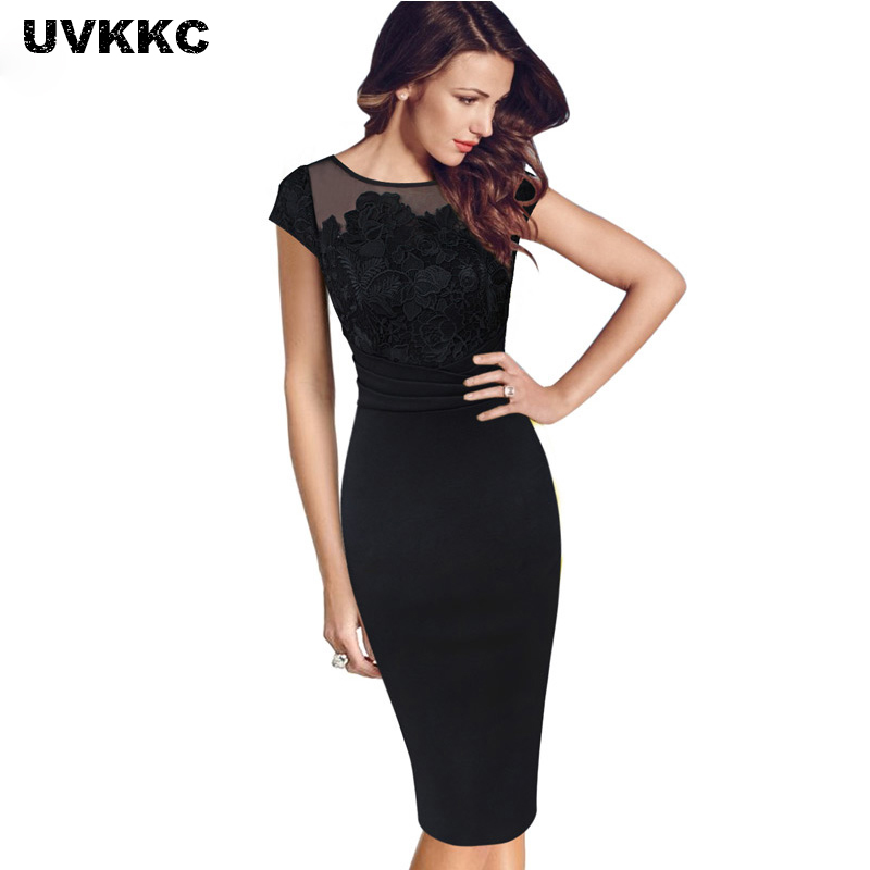 UVKKC Lady Office Dresses Floral Crochet Lace Ruched Party Evening Sheath Special Occasion Formal Party Bodycon Luxury Dress