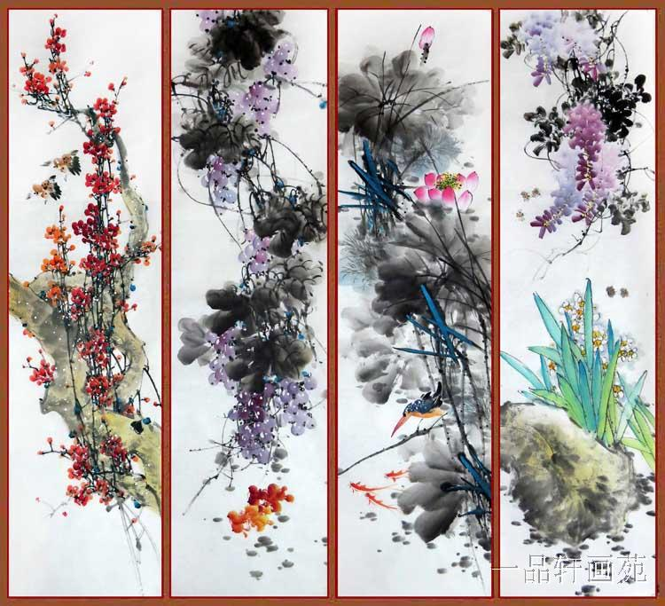 chinese traditional painting four seasons flower 13634cm