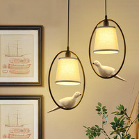 Modern Creative LED E27 White Cloth Fabric Lampshade with Resin Bird Wrought Iron Hanging Pendant Light for Living Room