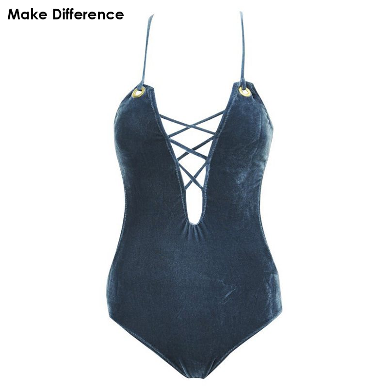 Make Difference 2018 New Luxe Velvet Swimsuit Women's Swimming Bathing Suits Swimwear Monokini One Piece Swimsuits for Women one piece swimsuits trikinis high cut thong swimsuit sexy strappy monokini swim suits high quality denim women s sports swimwear