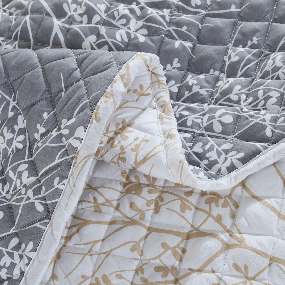 3D Printed White Branch Bedspread Gray Comforter 3 Pieces Skirt Design Summer Thin Quilt with 2 Pillowcase Air Conditioner Quilt - 5