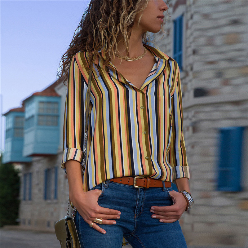Women Blouses Fashion Long Sleeve Turn Down Collar Office Shirt Leisure Blouse Shirt Casual Tops 101