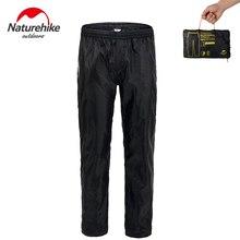 NatureHike katlanır yağmur geçirmez pantolon pantolon üzerinde erkek su geçirmez rüzgar geçirmez elastik bel yağmur pantolon çift fermuarlı