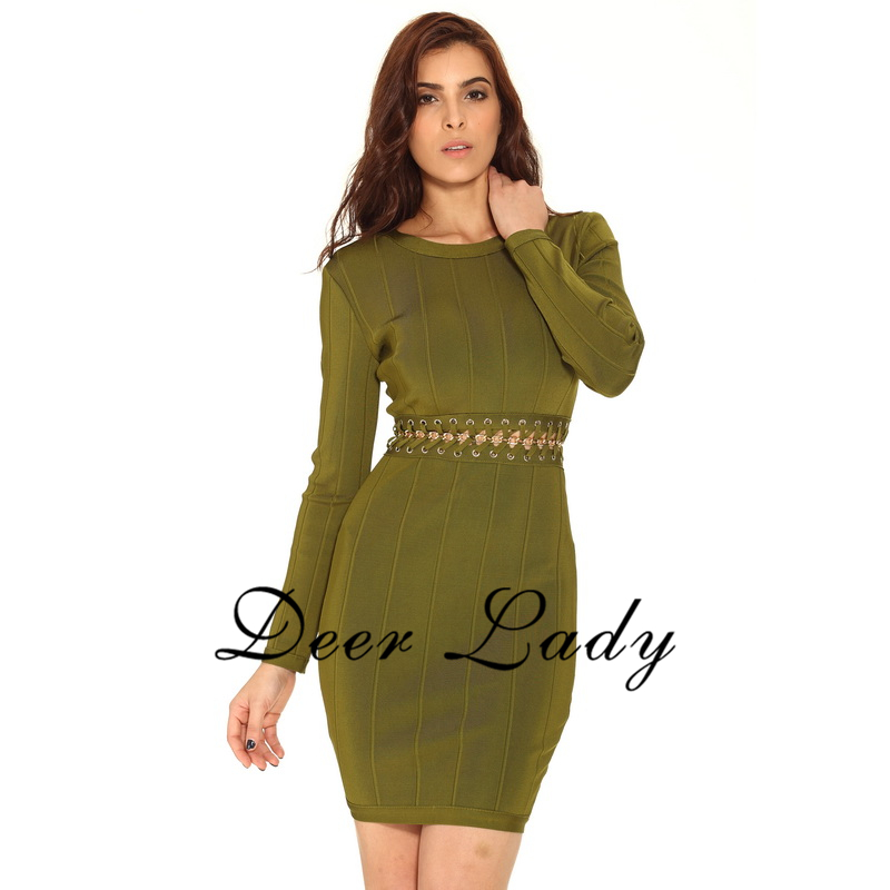 Qualité Hiver Bandage Manches Whoelsale Hl 2016 À Sexy Taille Cut Out Olive Robe Robes Haute Femmes qrqCpY