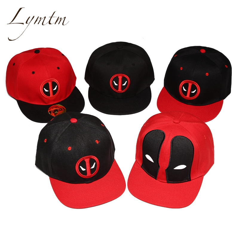 [Lymtm] Unisex Cotton Outdoor Anime Comic Marvel Deadpool Snapback Summer Hip Hop Embroidery Cap Hat Baseball Cap For Men Women oreimo comic anthology