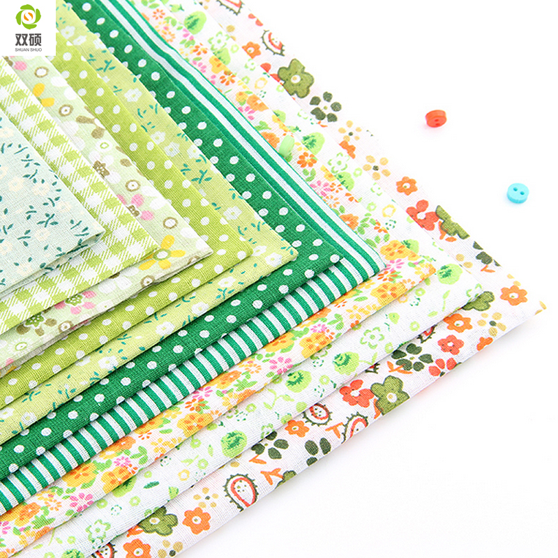 Tejido No Repeat Design Green Series para Patchwork Fat Quarters Bundle Tejido de costura 10 piezas / lote 50cm * 50cm A1-10-1