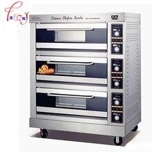 Коммерческих электрическая духовка 1200 Вт барбекю печь 3 слоя 6 сковороды электрические печи для выпечки хлеба торт хлеб пицца машина FKB-3