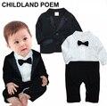 Ropa de los bebés fijó 1 año de cumpleaños ropa de bebé infantiles banquete de boda traje de los cabritos del bebé del muchacho caballero ropa de bautismo mameluco