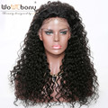 Curly Human Hair Wigs with Baby Hair Pre Plucked Natural Hairline Alicia Lace Front Wig Indian Remy Hair Bleached Knots WoWEbony