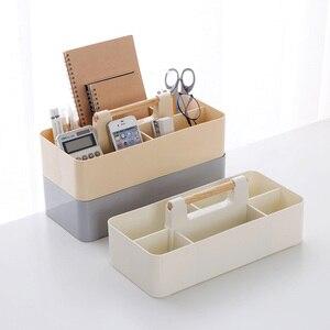 Image 1 - Ahşap saplı saklama kutusu sıralama kozmetik saklama kutusu ofis masası kırtasiye plastik bitirme kutusu kalem tutucu ofis malzemeleri
