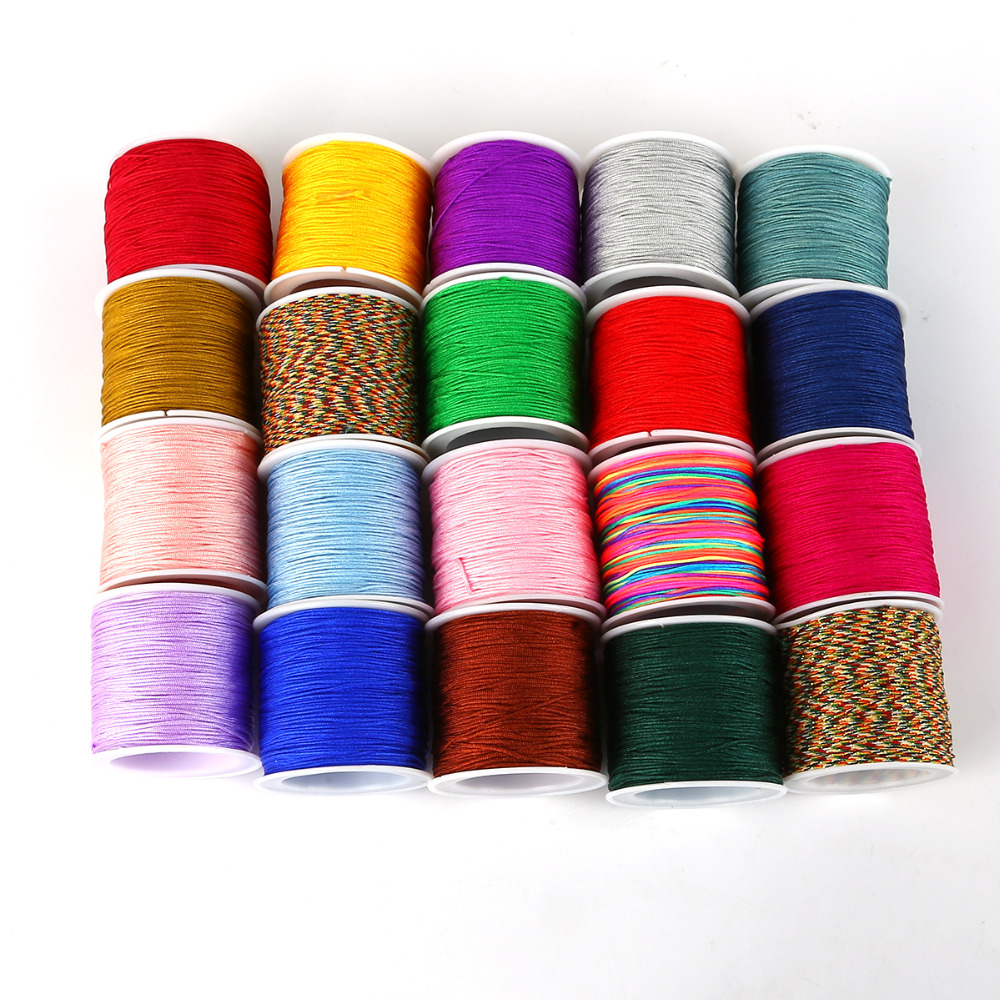 50Meter 0.8mm Nylon Cord Thread Chinese Knot Macrame Cord Bracelet Braided String Beading Craft DIY Jewelry Cord Thread