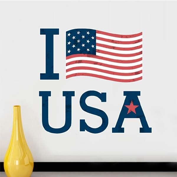 I love the usa america flag culture wall sticker window sticker nursery decoration decal kids room
