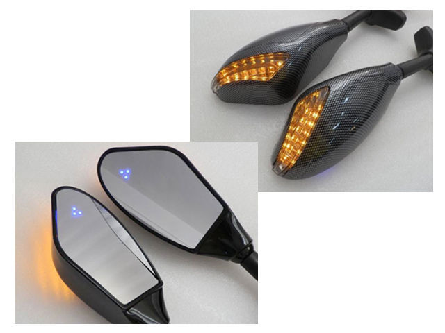 For 2000-2009 Suzuki GSXR600 Motorcycle Rearview Mirrors LED Turn Signals Lights Automotive Parts & Accessories