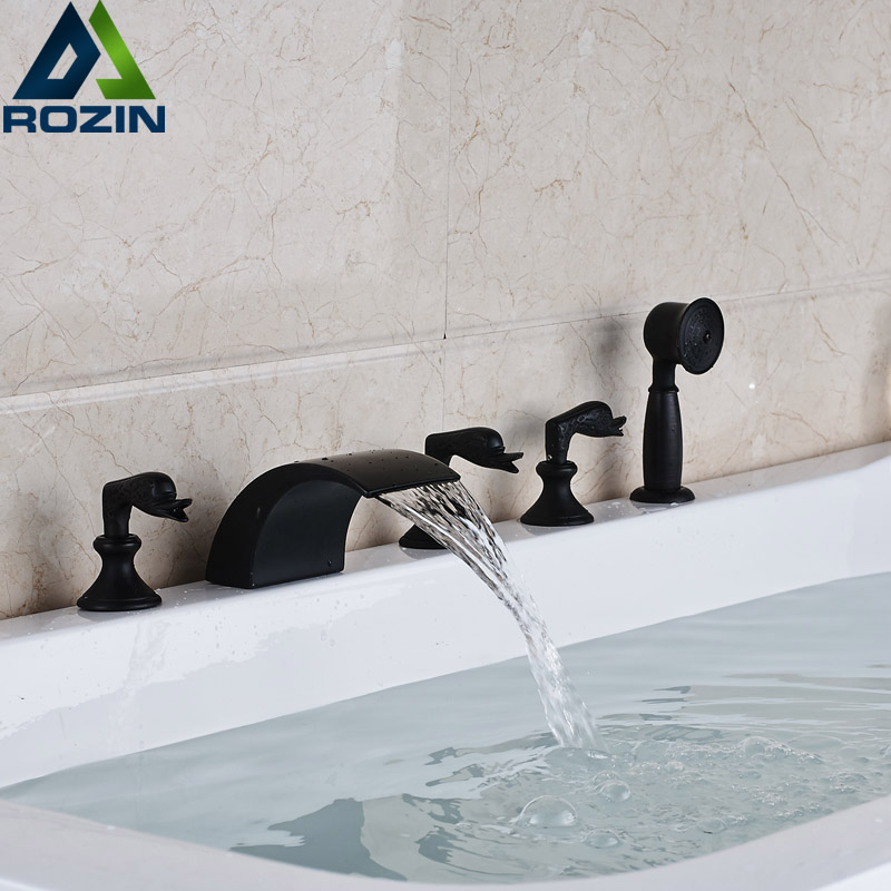 Deck Mounted 5pcs Widespread Tub Faucet Three Handles Waterfall Spout Bathtub Mixers with Hand Shower