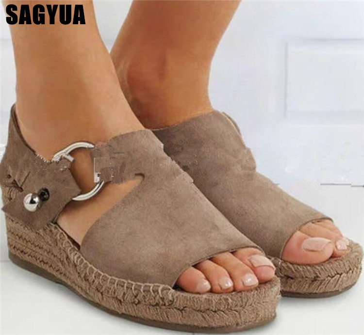 Summer new Weaving Thick bottom Fish mouth women sandals fashion Wedge ladies Ankle buckle shallow Casual shoes plus size A722 Summer new Weaving Thick bottom Fish mouth women sandals fashion Wedge ladies Ankle buckle shallow Casual shoes plus size A722
