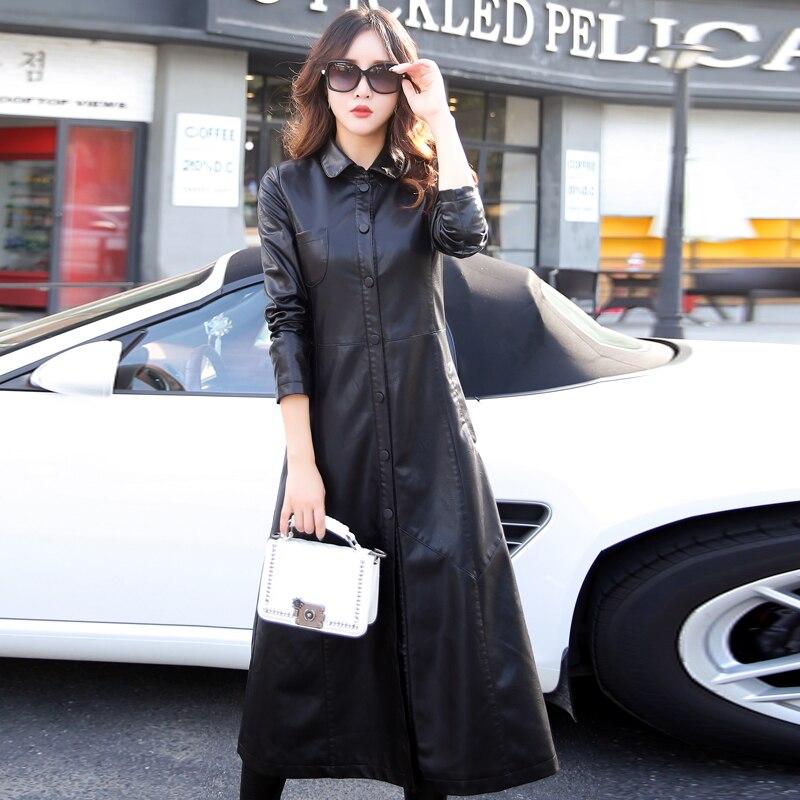 Outwear Veste Style Europe Red Street Moto Cuir Automne date Mesdames Long Femmes Manteau Tranchée En Noir Ultra Spécial Printemps gOZpO