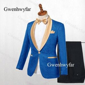 Image 5 - Gwenhwyfar Erkek Takım Elbise Lacivert Jakarlı 2019 Altın Yaka Damat Smokin Parti Balo Erkek Takım Elbise Düğün takımları (Ceket + pantolon)
