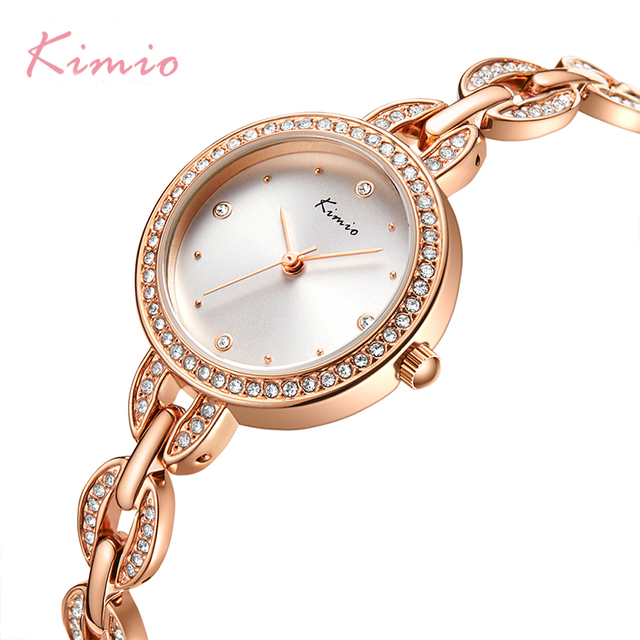 KIMIO العلامة التجارية الصغيرة الهاتفي المرأة سوار ساعة 2018 الفاخرة الماس ساعات كوارتز السيدات كريستال فستان ساعة اليد reloj mujer