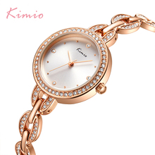 KIMIO Brand Small Dial Women Bracelet Watch 2018 Luxury Diamond Quartz Watches Ladies Crystal Dress Wristwatch Clock reloj mujer